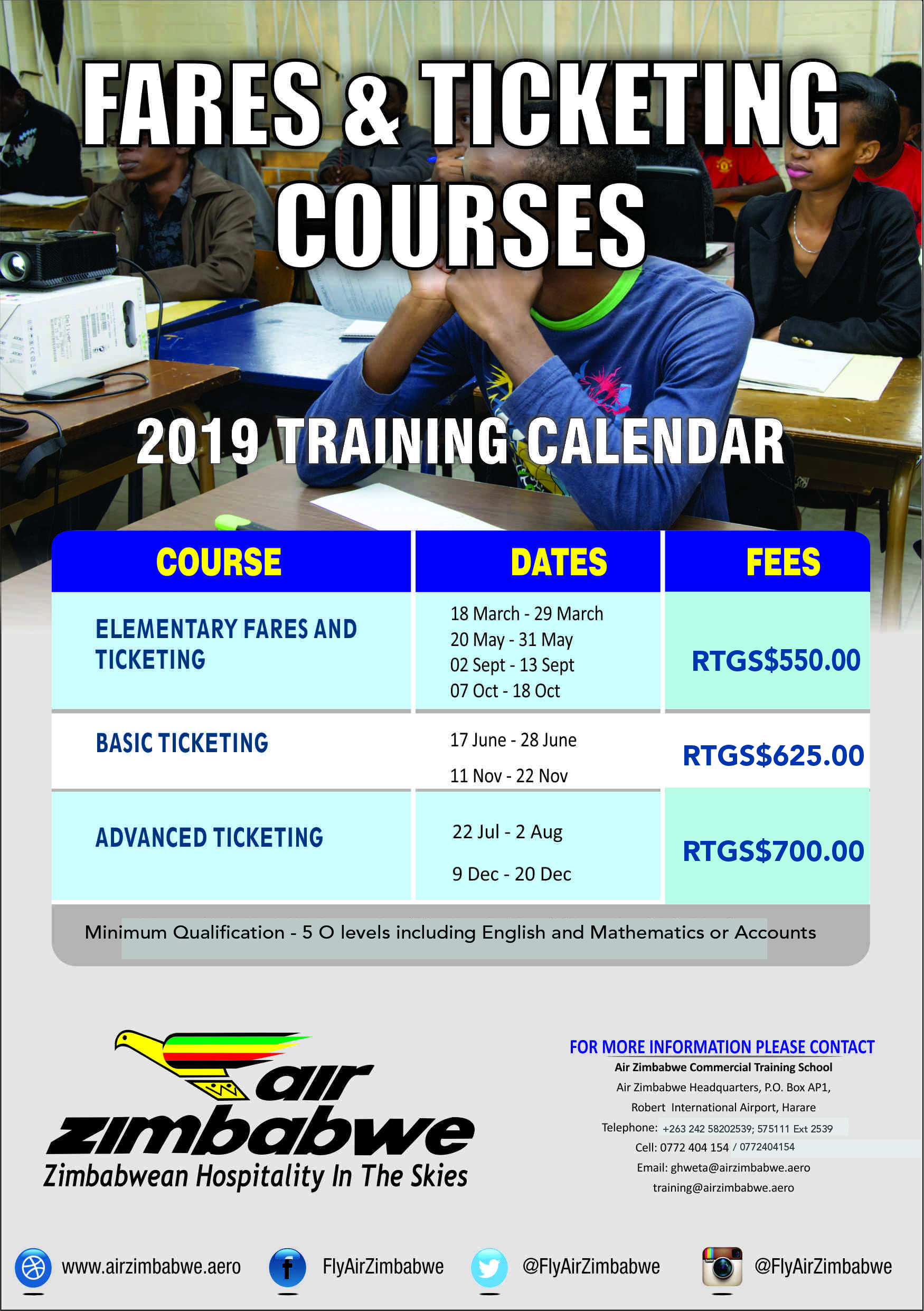 Fares and Ticketing Courses 2019 Training Calendar