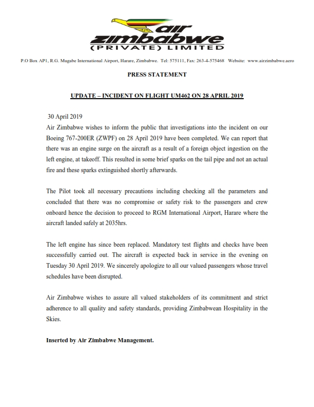 Press Statement - Update on Incident on Flight UM462 on 28 April 2019