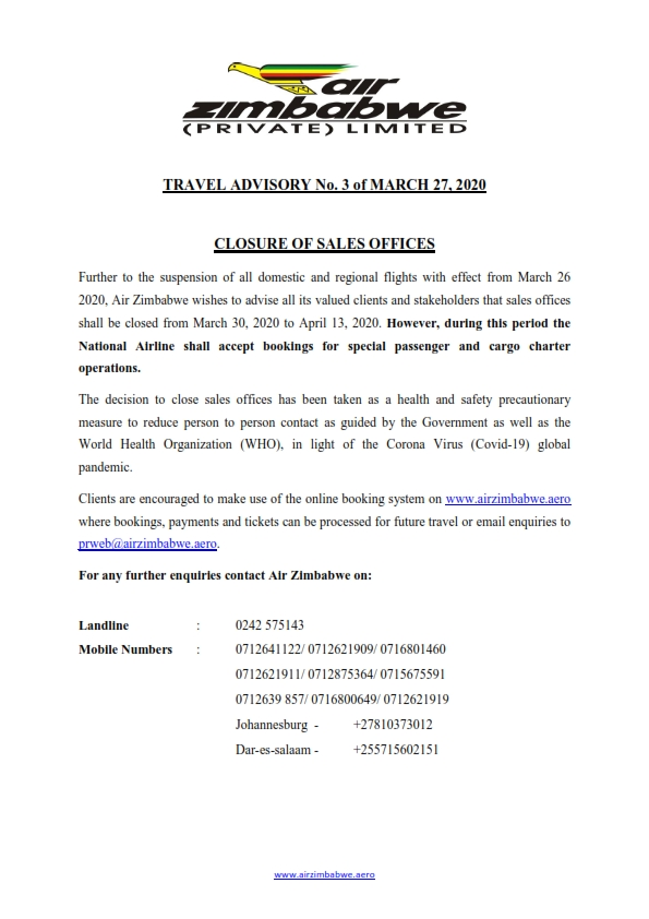 Travel Advisory No 3 - Closure of Sales Offices
